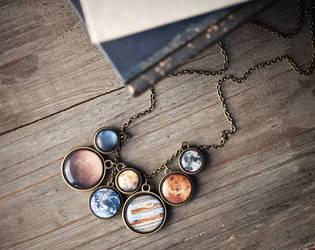 Solar system necklace by BeautySpotCrafts