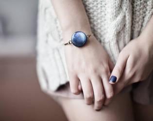 Navy blue Bracelet - Pluto by BeautySpotCrafts