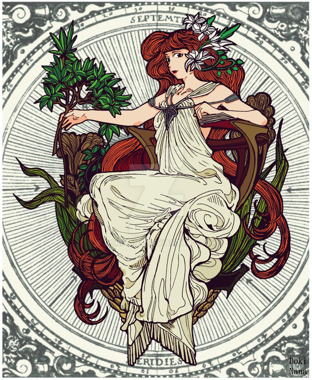Mucha Art Nouveau style by dokinana