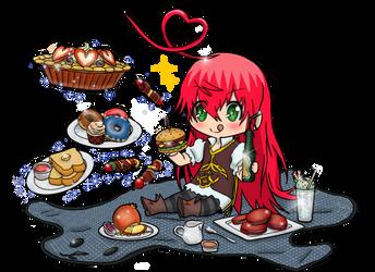 Chibi Lucifer Eat Time by tahonard