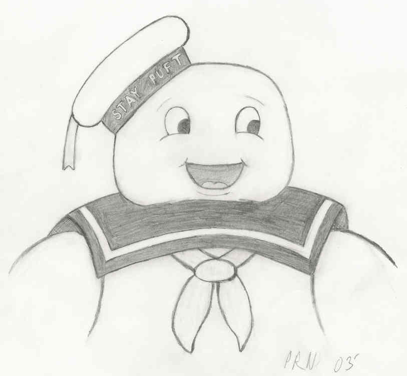 How to draw marshmallow for Stay puft coloring page