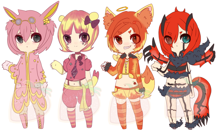 Pokemon Gijinka Adoptables Batch 005 [Closed] by StrawberriesJam
