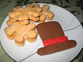 Layton Puzzle and Hat Cookies by upCrest