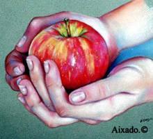 manos y manzana by aixado