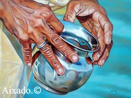 manos y vasija by aixado
