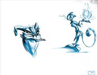 Argonian and Khajiit doodles by ElisAnimation