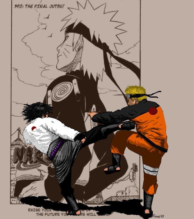 Naruto and Sasuke by KrisOwrey
