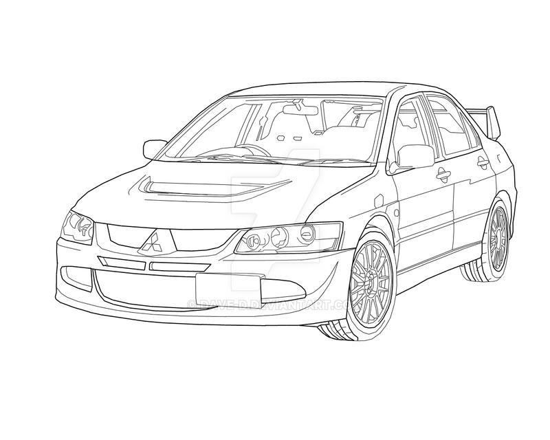 mitsubishi evo 8 line drawing by dave