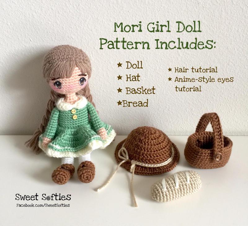 How to add Yarn Hair to Amigurumi Crochet Dolls with Hair Cap ... | 731x800