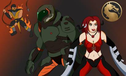 Bloodrayne and Doom Slayer in Mortal Kombat by ka385385