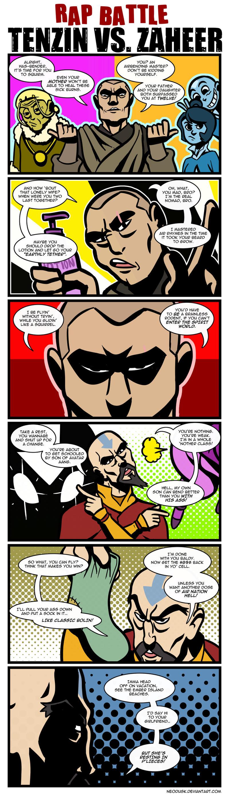 LoK Rap Battle: Tenzin Vs. Zaheer by Neodusk