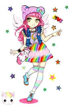 MangaModel coloring book Rainbow Girl