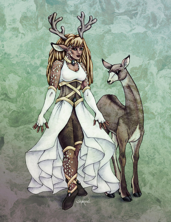 Deer Goddess in Colour