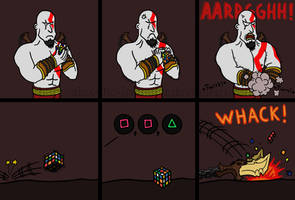 Kratos and the Rubik's Cube by Alex-the-Irregular