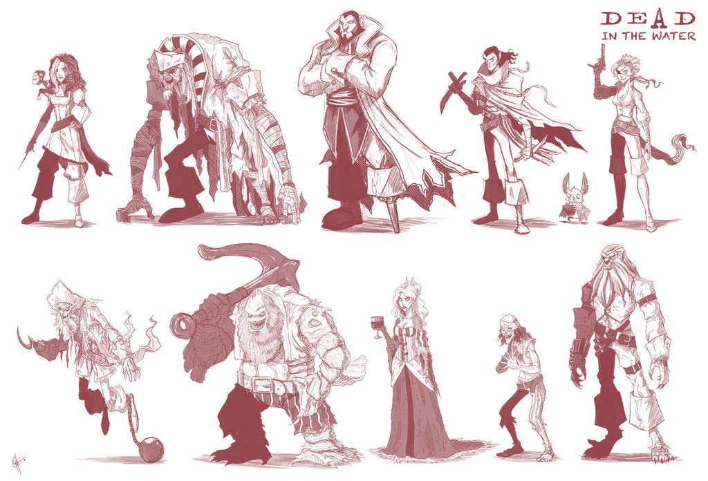 Character Design Portfolio Presentation : Dead in the water character sketches by jeftoon on