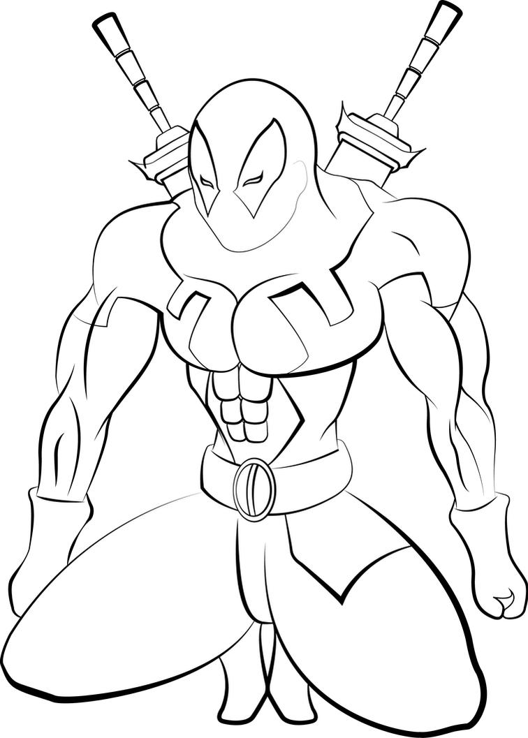 D Line Drawing Easy : Deadpool lineart by jogbadguy
