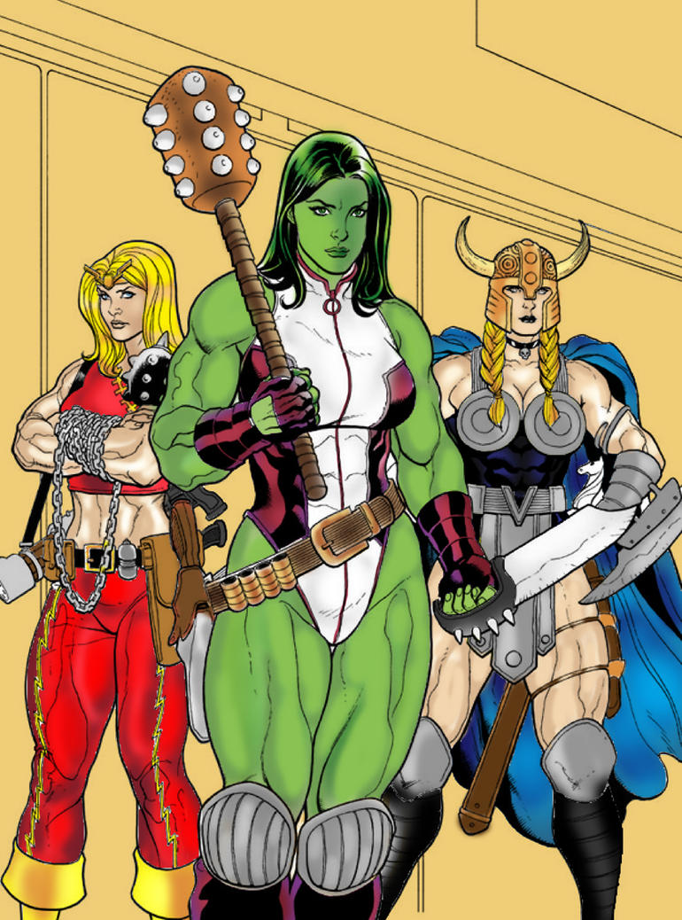 She-Hulk, Thundra, and Valkyrie Colors by fmvra1s