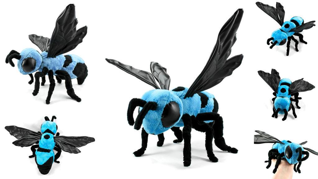 Blue Carpenter Bee Art Doll by BeeZee-Art