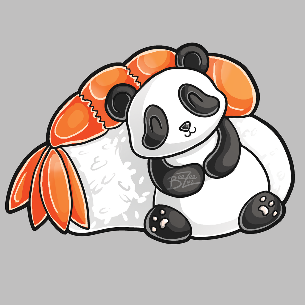 Cute Panda With Sushi By BeeZee Art
