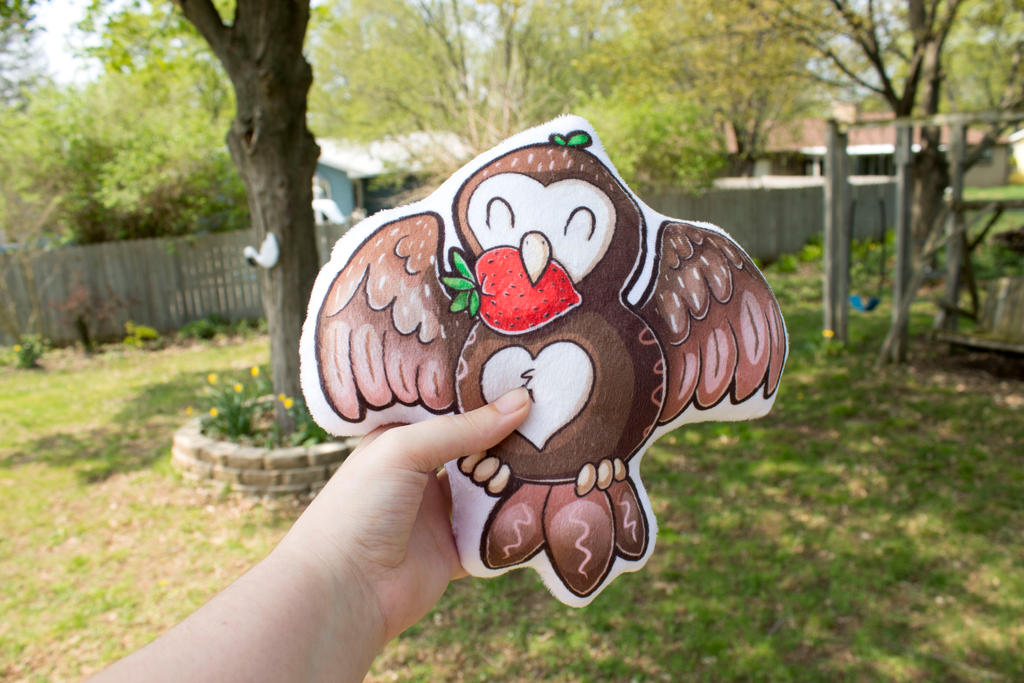 Chocolate Strawberry Owl Pillow by BeeZee-Art