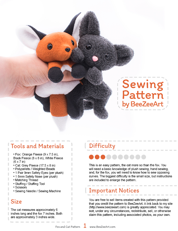 Fox And Cat Plushie Sewing Pattern By Beezee Art On Deviantart