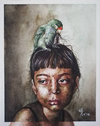 The Parakeet and the Girl by Gavenia