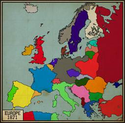 Alternate Map of Europe, 1871.