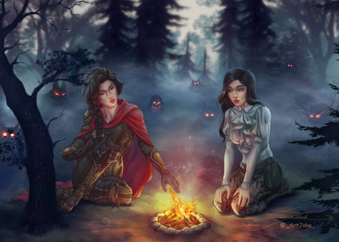 Kaye and Ava by the campfire