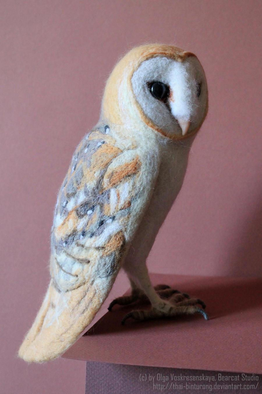 Barn Owl sculpture by thai-binturong
