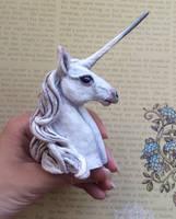 Unicorn bust sculpture by thai-binturong