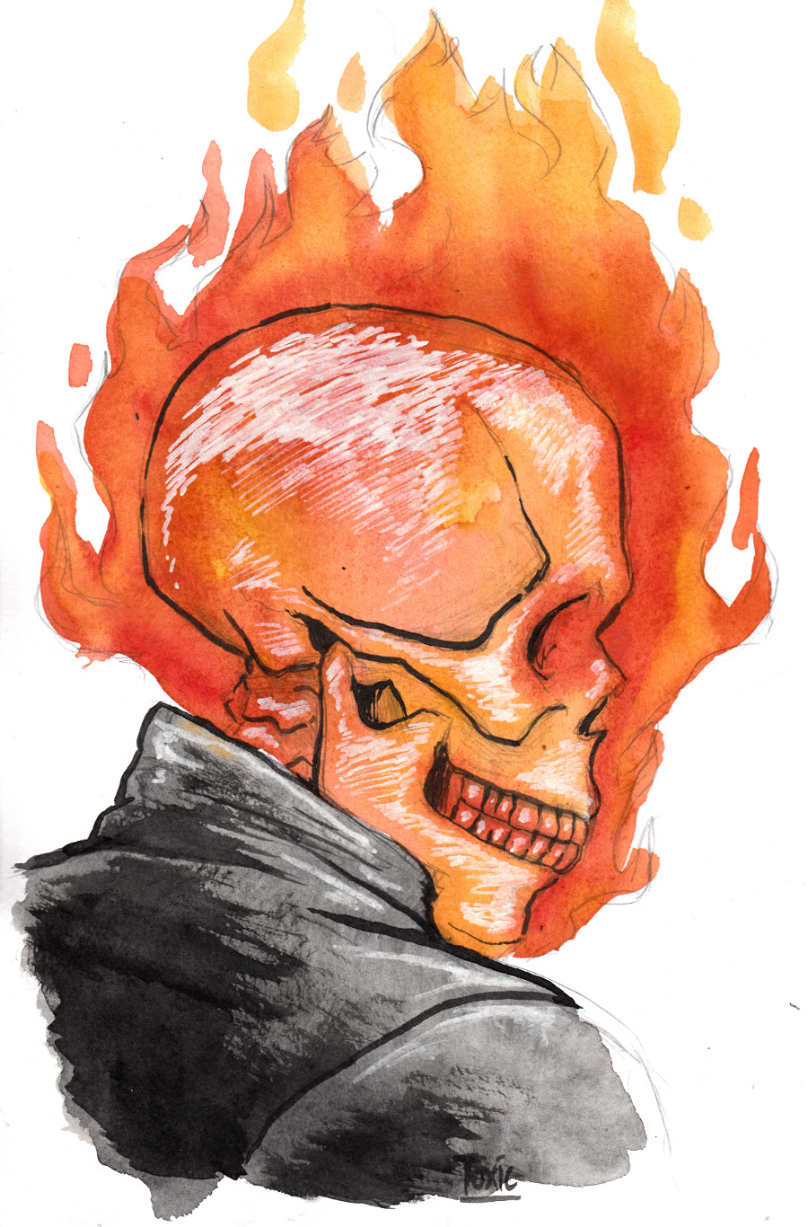 how to draw ghost rider body