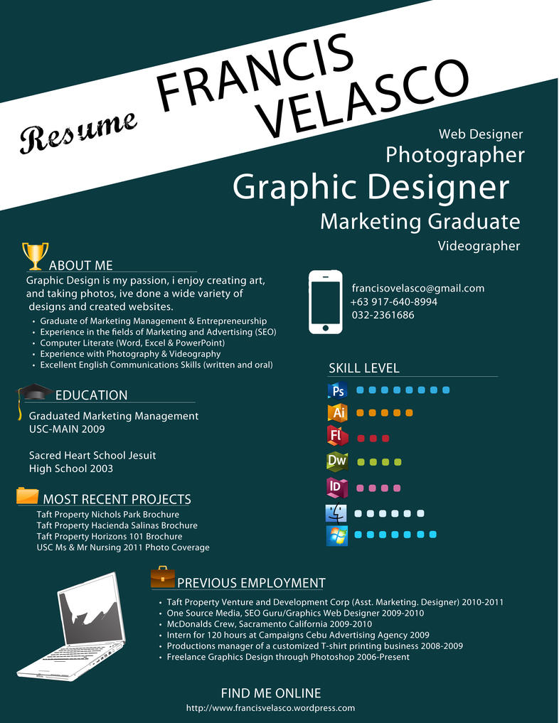 cool resume designs business management art education building resume design francis velasco portfolio
