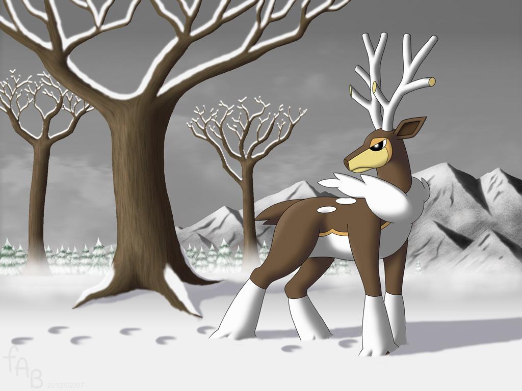 Seasonal Sawsbuck, Winter by fab-wpg