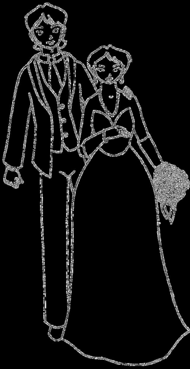 Inari and Aiko Marriage lineart by juriTanaka