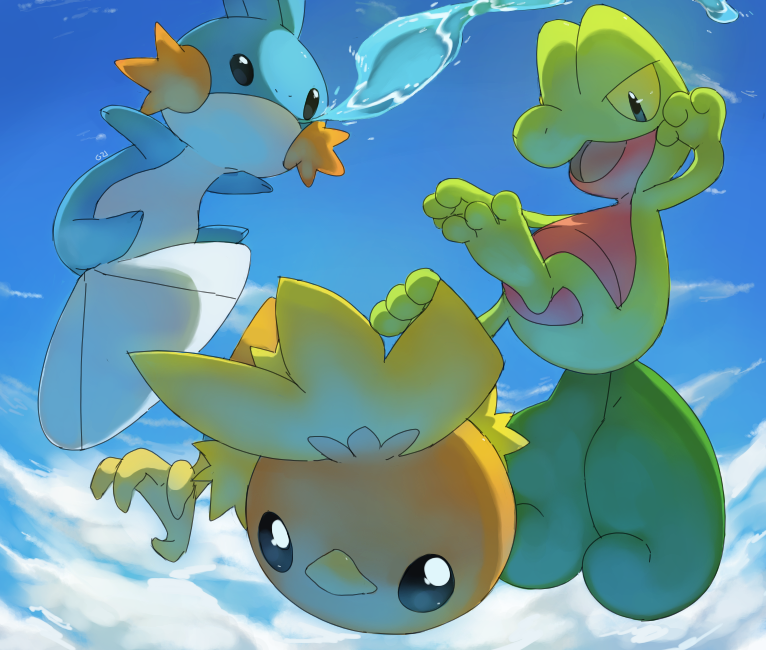 Hoenn's starters by PinkGermy on DeviantArt