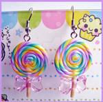Lollipop Earrings - Pink Bow