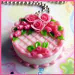 Pink Rose Cake Necklace