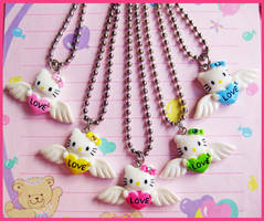 Winged Hello Kitty Necklaces by cherryboop