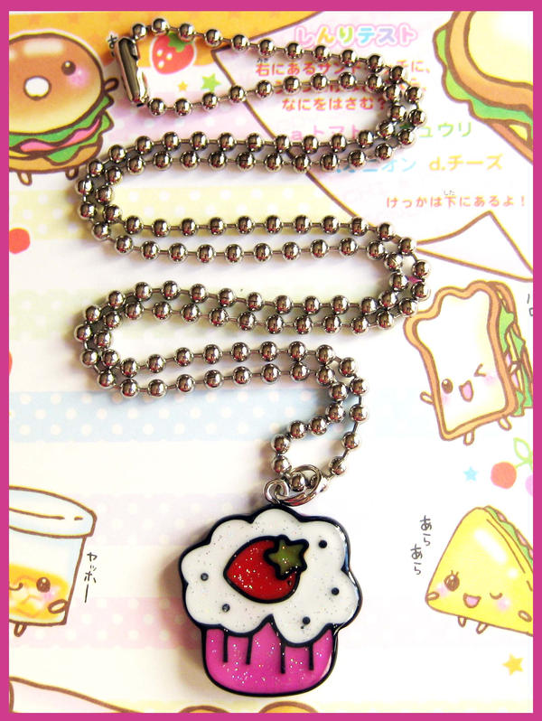 Strawberry Cupcake Necklace by cherryboop
