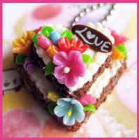 Cream Heart Cake Necklace by cherryboop