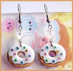 White Donut Earrings
