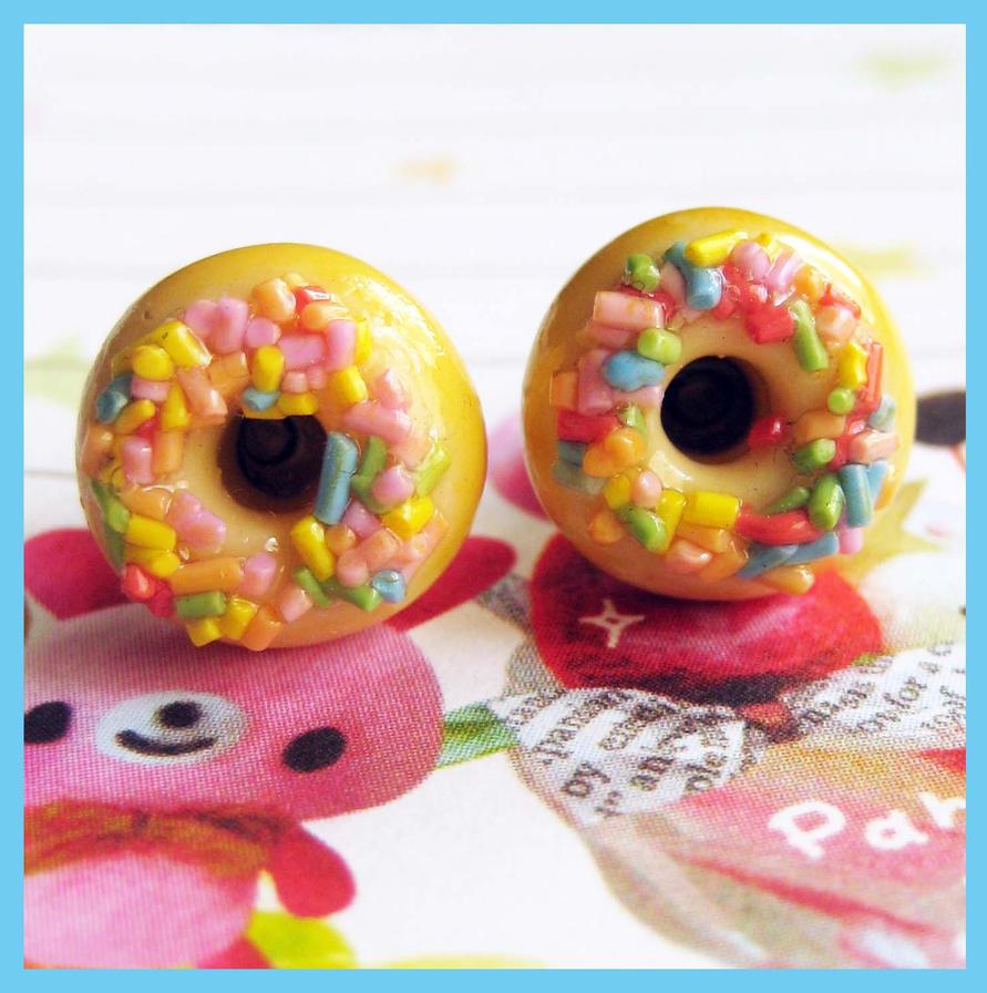 Sprinkle Donut Stud Earrings 2 by cherryboop