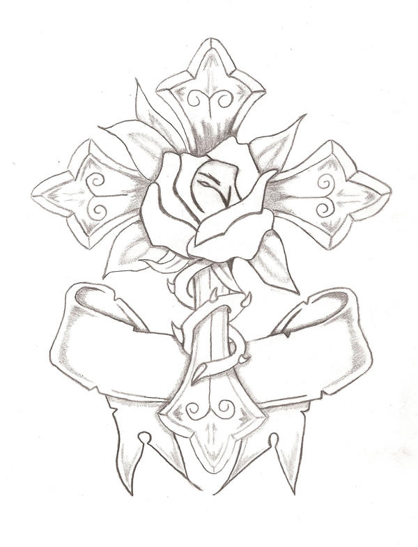 Rose and cross by bubba onion on deviantart for Coloring pages of crosses and roses