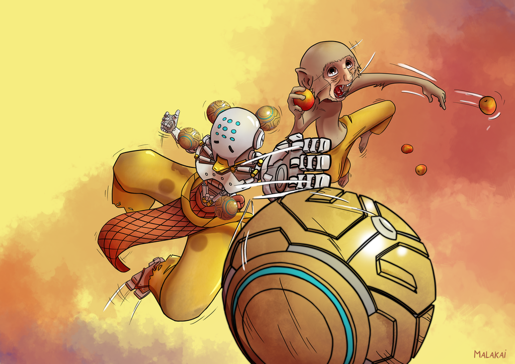 Overwatch fanart - Zenyatta and monkey by Malakai02