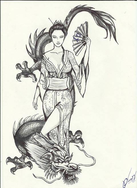Gueixa E Dragao Desenho Tattoo By Dimaspontes On Deviantart
