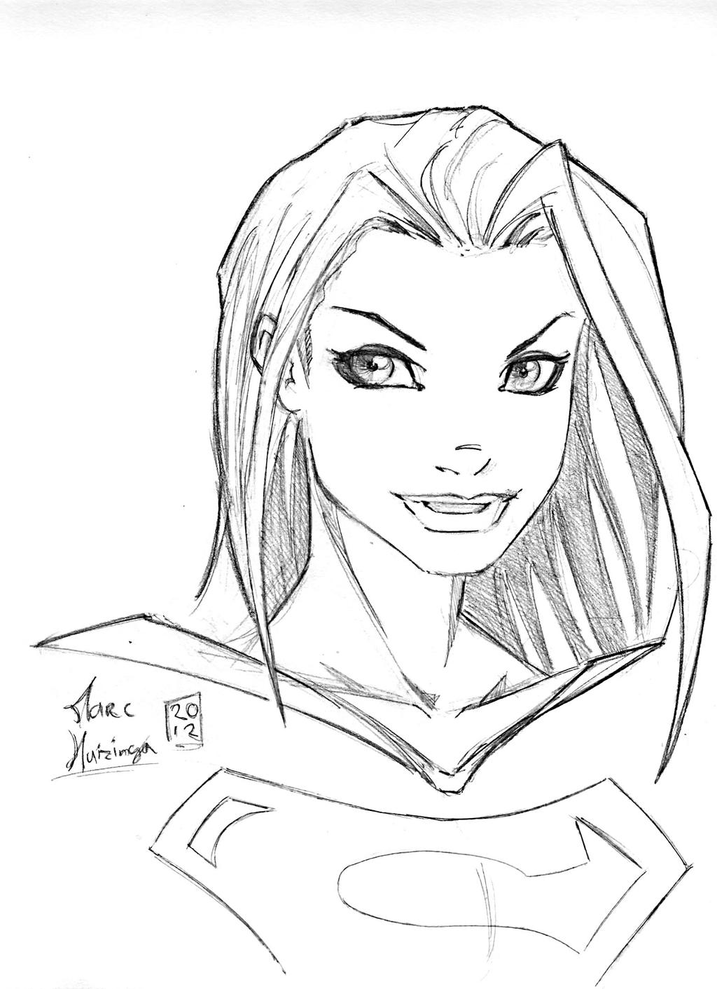 Supergirl warmup by marc f huizinga on deviantart for Supergirl coloring page