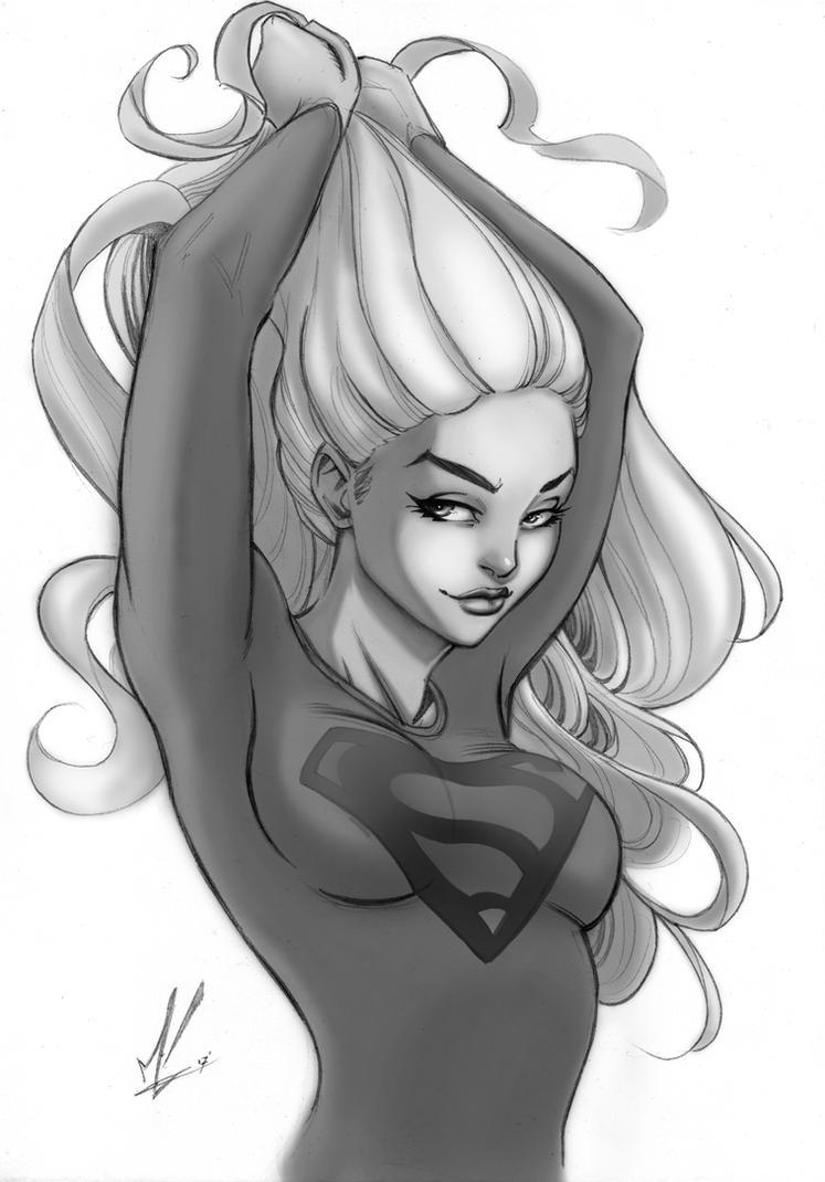 Supergirl Greyscale by Marc-F-Huizinga
