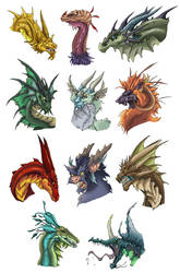 Dragon Heads 1 by Nythus