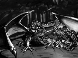 Dragon - linework  shade