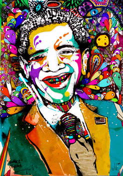 Obama facing the colors